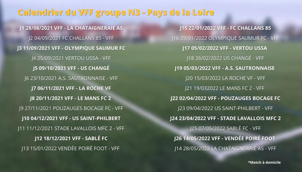 Calendrier du VFF groupe N3 - Pays de la Loire (1)