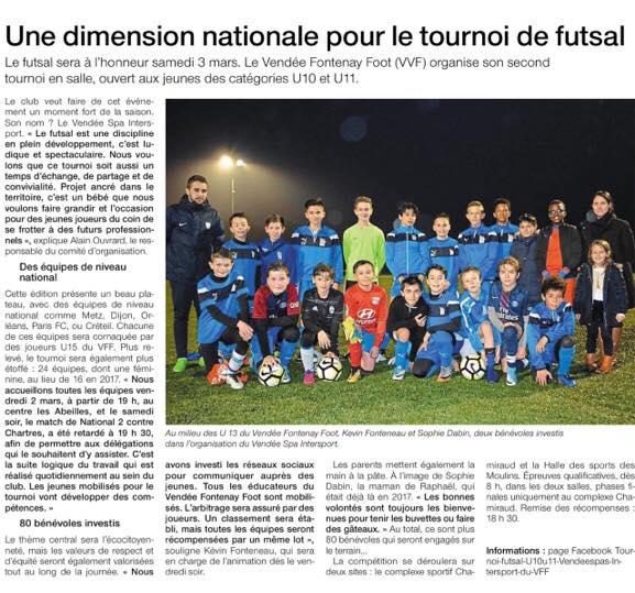 Tournoi FUTSAL Vendée Fontenay Foot