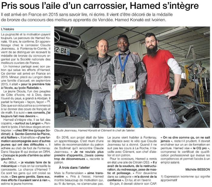 Ouest France 23 avril 2018 Hamed