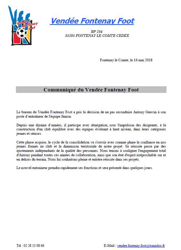 Communique du Vendée Fontenay Foot